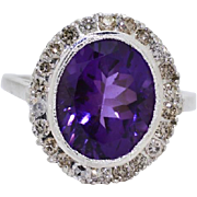 SALE Antique 925 Sterling Silver 4.64ctw Amethyst & Genuine Diamond Ring 3.6g