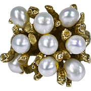 SALE Vintage 14k Yellow Gold Large (9) Cluster Pearl Cocktail Ring 12g