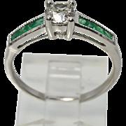 SALE Deco Platinum 1.00ctw H-SI1 European Cut Diamond & Emerald Ring 3.5g