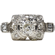 SALE Antique Platinum .84ctw European Cut Genuine Diamond Engagement Ring 5.3g