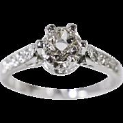 SALE Antique Platinum .74ctw H-SI1 European Cut Diamond Engagement Ring 4.8g