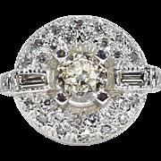 SALE Art Deco Platinum 1.26ctw European Cut Genuine Diamond Engagement Ring 7g
