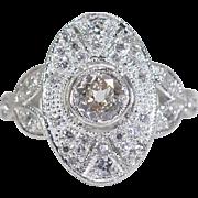 SALE Art Deco Platinum 1.30ctw European Cut Genuine Diamond Engagement Ring 8g