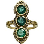 SALE Antique 9k Yellow Gold 2.49ct G-VS2 Genuine Diamond & Muzo Emerald Ring 3.5g