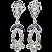 SALE Estate Platinum 1.60ctw F-VS1 Euro Cut Diamond & Sapphire Dangle Earrings 9.4g