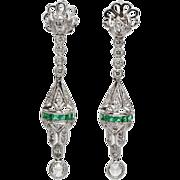 SALE Estate Platinum 2.09ct F-VS1 Rose Cut Diamond & Calibre Cut Emerald Earrings 12g