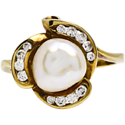 SALE Estate Vintage 14k Yellow Gold 9mm Baroque Pearl & .39ct G-VS1 Diamond Ring 4.8g