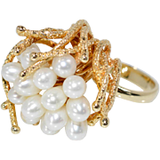 SALE Estate Vintage 14k Yellow Gold 6mm White Pearl Pearl Cluster Cocktail Ring 11g