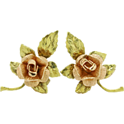 SALE Designer Two Toned Rose and Yellow 14k Gold (Black Hills Gold) Rose Earrings 3.0g