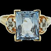 Art Deco 5.25ctw Genuine Swiss Topaz & Rose Cut Diamond 10k Rose Gold Ring Size ...