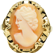 SALE Victorian 14k Yellow Gold Hand Carved Rare Left Facing Shell Cameo Ring