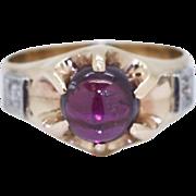 Antique 10k Rose Gold 2.36ct Rhodolite Garnet & G-SI1 Europen Cut Diamond Ring