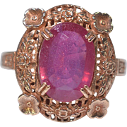 Antique 9K Rose Gold Filigree 3.00ctw Oval AAA Gem Ruby Ring