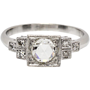 Art Deco Platinum .75ctw F-VS2 Rose Cut Diamond Engagement Ring 4.5g ~ Sx 7.5