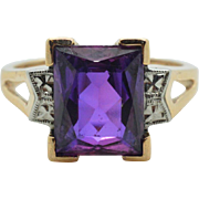 Antique 10k Rose Gold 3.80ct Emerald Cut Amethyst Solitaire Engagement Ring