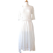 Antique 1910s Edwardian Ivory White Cotton and Cutout Lace Tea Dress