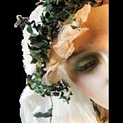 Vintage 1920s Wedding Bridal Juliet Cap Veil with Green Foliage, Flower Buds and Bronze ...