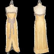 1920s Beaded Silk Velvet Art Deco Dress with Tufted Hem, Old Hollywood Starlet 20s Evening ...