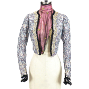 Antique Victorian Watercolor Silk Bodice with Applique Lace and Embroidery Circa Mid 1890s ~ .
