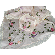 Antique Pink Silk Embroidered Apron Pinafore with Silk Ribbon Rosettes