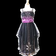 Antique Edwardian - 1920s Beaded Silk Tulle and Velvet Evening Dress
