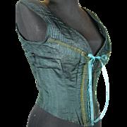 Antique Green Silk Women's Corset Vest