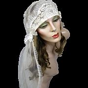 Antique 20s Flapper Wedding Headpiece Veil Art Deco Juliet Cap Cloche