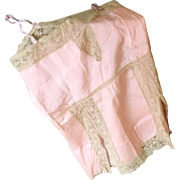 1920s Vintage Pink Silk and Lace Step In Romper  Nightie Teddy Flapper Lingerie