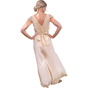 1930s Pink Silk and Lace Wide Leg Lounging Pajamas, 30s Lingerie, Art Deco Palazzo Pant ...