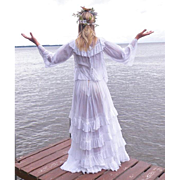 Antique Edwardian White Cotton & Lace Dress, 1910s Bohemian Wedding Dress, 2pc Tiered Skirt &