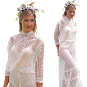 Antique 1910s Edwardian Net Lace Dress, Two Piece Bohemian Bridal Dress
