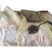 Antique 1920s H&W Bandette Tagged Silk Lace Flapper Bra and Pink Chemise