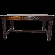 English 19C early Victorian Mahogany Library Table
