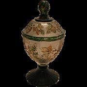 Vintage Stippled Grape Depression Glass Candy Jar Jeanette Glass Co