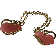 1950's Pink Thermoset Sweater Clips with Faux Pearl Link Chain and Goldtone Chain
