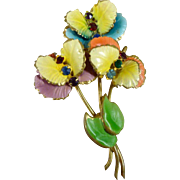 Unsigned Multi-Coloured Floral Brooch 1940's