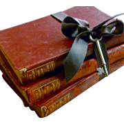 """Three Stack of Crumbly Leather Bound Books for Home Decor from the Series """"The Complete ."""