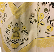1950's Dutch Butterpat Themed Tablecloth