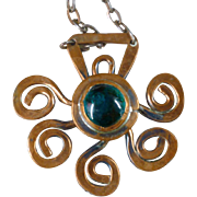 1970's Rafael Alfandary Copper and Green Glass Cabochon Primitive Necklace