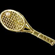 Unsigned Vintage Tennis Raquet Brooch