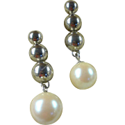 1980's Signed Bijoux Cascio Uber Statement Ball and Imitation Pearl Earrings