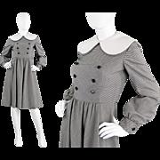 1970s Geoffrey Beene Black & White Large Peter Pan Collar Wool Dress