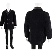 1960s Mens Black Curly Sheepskin Shearling & Leather Double Breasted 60s Mod Coat