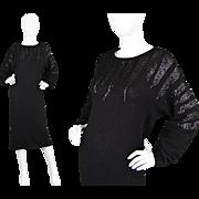 Vintage 1980s Black Silk Angora & Wool Knit Beaded Batwing Sweater LBD 80s Party Dress