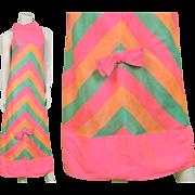 Vintage 1960s Mod Silk Maxi Dress Pastel Pink & Mint Rainbow 60s Evening Gown