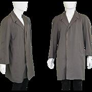 Vintage 1950s Dunn & Co. 50s Gabardine Coat Raglan Sleeve Grey Worsted Wool Overcoat