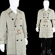 Vintage 1960s Men's Inverness Cape Coat Prince of Wales Check 60s Deerstalker Trenchcoat by