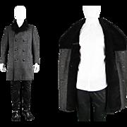 Vintage 1960s Aquascutum Men's Peacoat with Faux Fur Collar 60s Grey Wool Overcoat