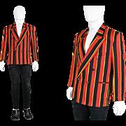 Vintage 1970s Mens Mod Boating Blazer Vertical Stripe Double Breasted Jacket Peaked Lapels