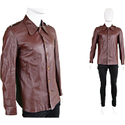 Vintage 1970s Lord John Carnaby Street Mens Leather Jacket 60s 70s Mens Leather Shirt Round ..